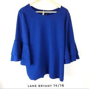 Lane Bryant 14/16 blue flutter sleeve blouse